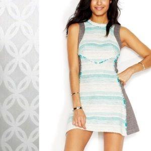 RACHEL Rachel Roy Tweed Combo Dress Green Gray 8